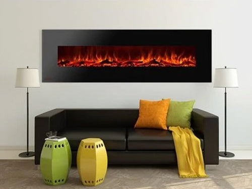 """95"""" Royal Wall Mount Electric Fireplace with Logs"""