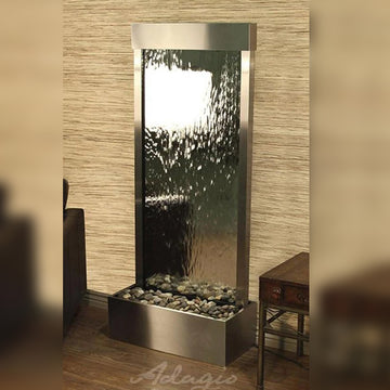 outdoor wall fountains, glass fountains, stainless steel fountains, water walls, modern outdoor fountains, modern indoor fountains, Harmony River Floor Fountain