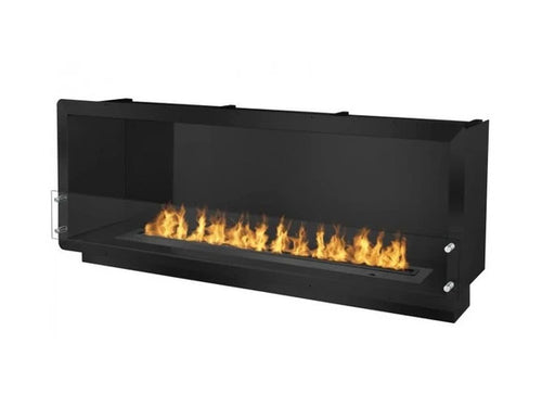 """Ignis 64.25"""" Wide One-Sided Ethanol Burning Smart Firebox in Black"""