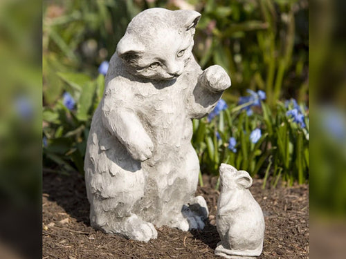 Playful Kitten and Mouse Statue