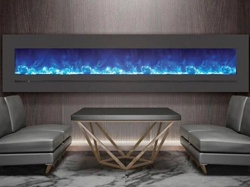 """Sierra Flame 88"""" Linear Electric Fireplace with Steel Front"""