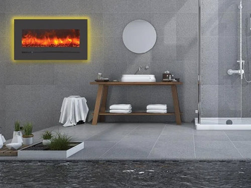 """Sierra Flame 34"""" Linear Electric Fireplace with Steel Front"""