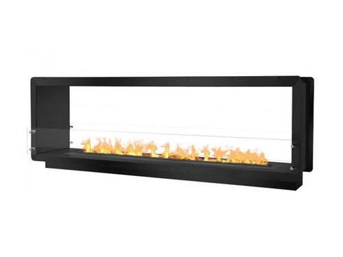 """Ignis 78.5"""" Wide Double-Sided Ethanol Burning Smart Firebox in Black"""
