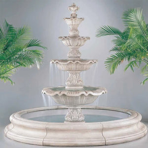 outdoor fountains, tiered fountains, 4 tier renaissance in toscana pool, fountains with pools