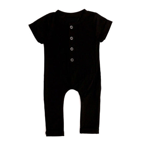 Short Sleeve Basic Solid Color Romper V2 - Black