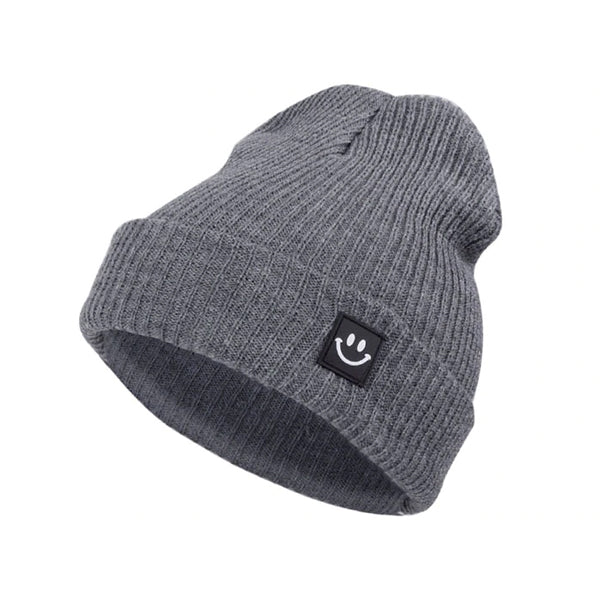 Smiley Beanie - Gray
