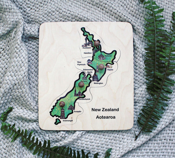 New Zealand Map Puzzle with knobs