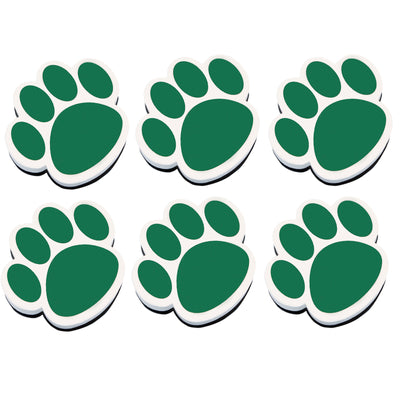 (6 Ea) Magnetic Whiteboard Eraser Green Paw