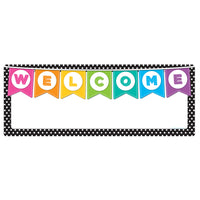 (10 Ea) Welcome Banner Black White Polka Dots Dry-erase Surface