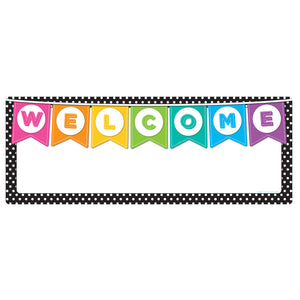 Welcome Banner Black White Polka Dots Dry-erase Surface