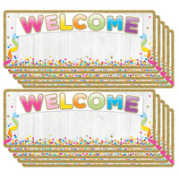 (10 Ea) Smart Poly Welcome Banner Confetti Dry-erase Surface