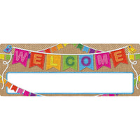 Smart Poly Welcome Banner Burlap Dry-erase Surface