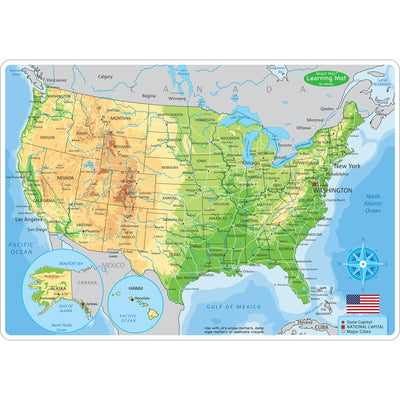 10pk Us Map Learning Mat 2 Sided Write On Wipe Off
