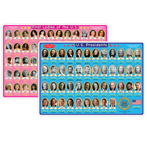 10pk Us Presidents&1st Ladies Mat 2 Sided Write On Wipe Off