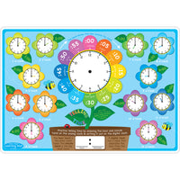 10pk Telling Time Learn Mat 2 Sided Write On Wipe Off