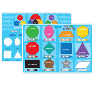 10pk Colors And Shapes Learning Mat 2 Sided Write On Wipe Off