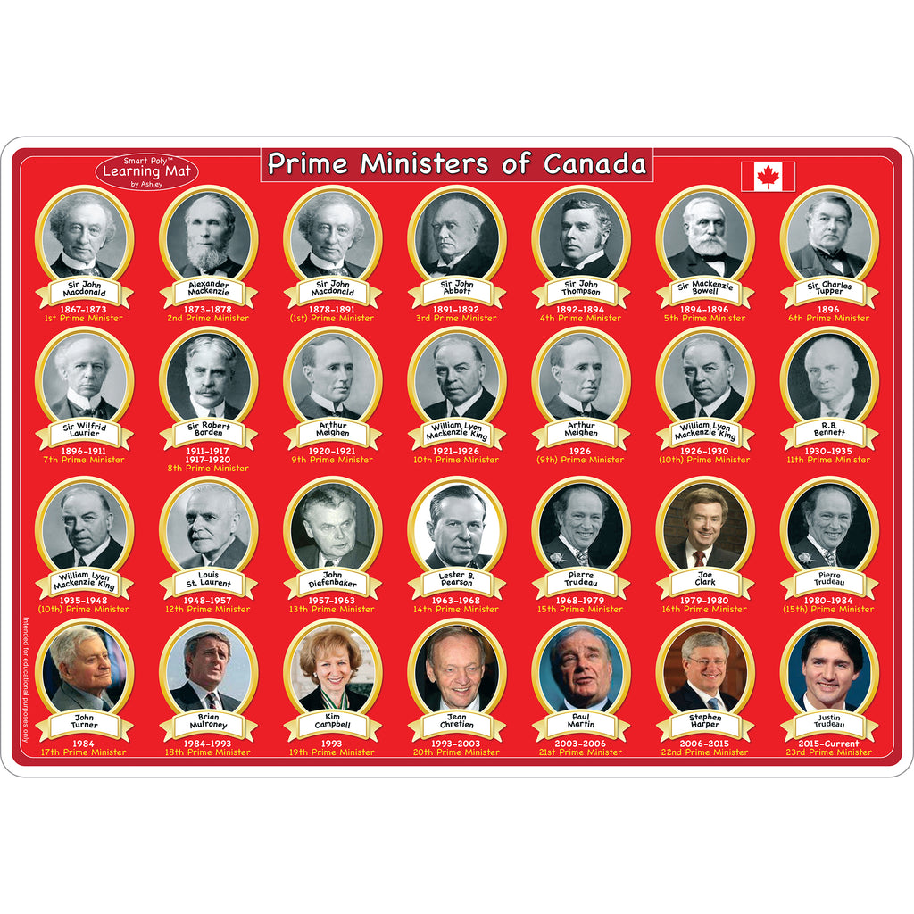10pk Canadian Prime Ministers Mat 2 Sided Write On Wipe Off