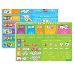10pk Us Money & Coins Learning Mat 2 Sided Write On Wipe Off