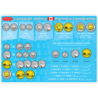 10pk Canadian Money Learning Mat 2 Sided Write On Wipe Off