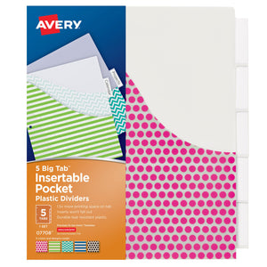 Avery Big Tab 5 Tab Pocket Insertable Plastic Dividers Set - Student Spotlight