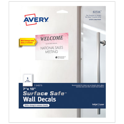 Surface Safe Wall Decals 7in X 10in 3 Labels