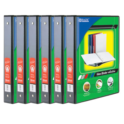 (6 Ea) 3 Ring Binder W- 2 Pockets 1in Blck
