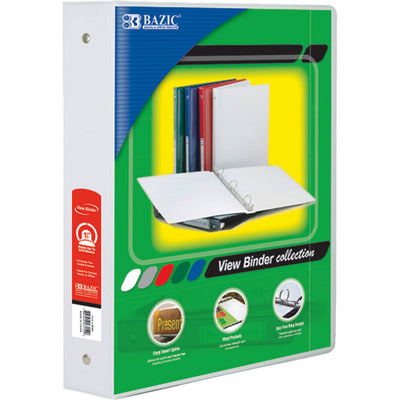(6 Ea) 3ring Binder W- 2 Pockets 1.5in Wht