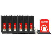 (6 Ea) D Ring Binder W- Pockts 2in Blk