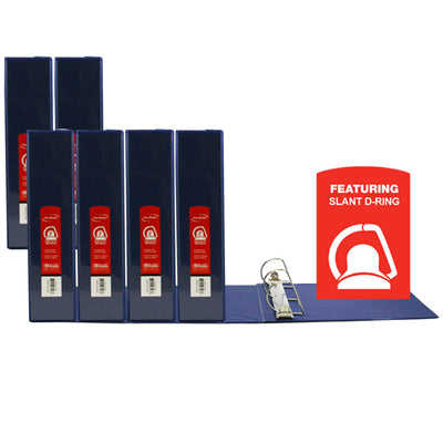 (6 Ea) D Ring Binder W- Pockts 2in Blu
