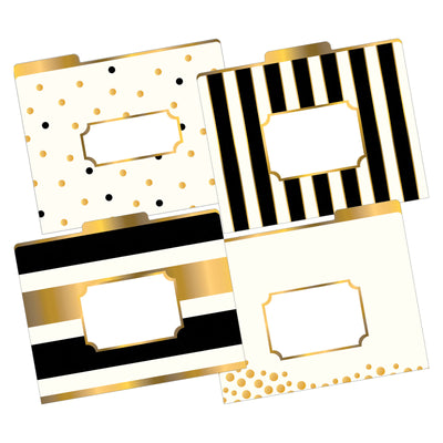 (2 Pk) Letter Size File Folders Gld Multi-design Set