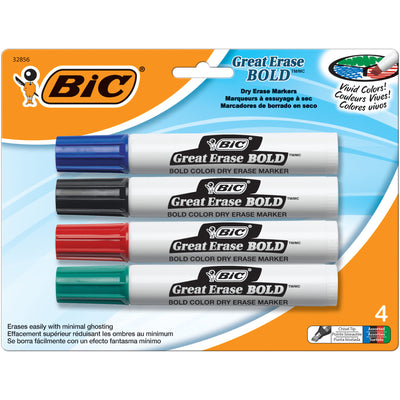 (6 Pk) Bic Great Erase Dry Erase Chisel Point Markers 4 Per Pk