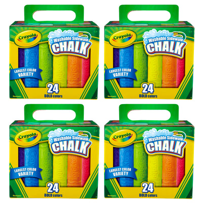 (4 Bx) Crayola Washable Sidewalk Chalk 24ct Per Bx