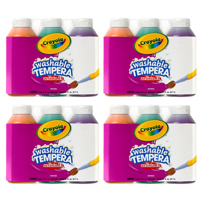 (4 Pk) Artista Ii Tempera 3 - 8oz Secondary Color Washable Paint