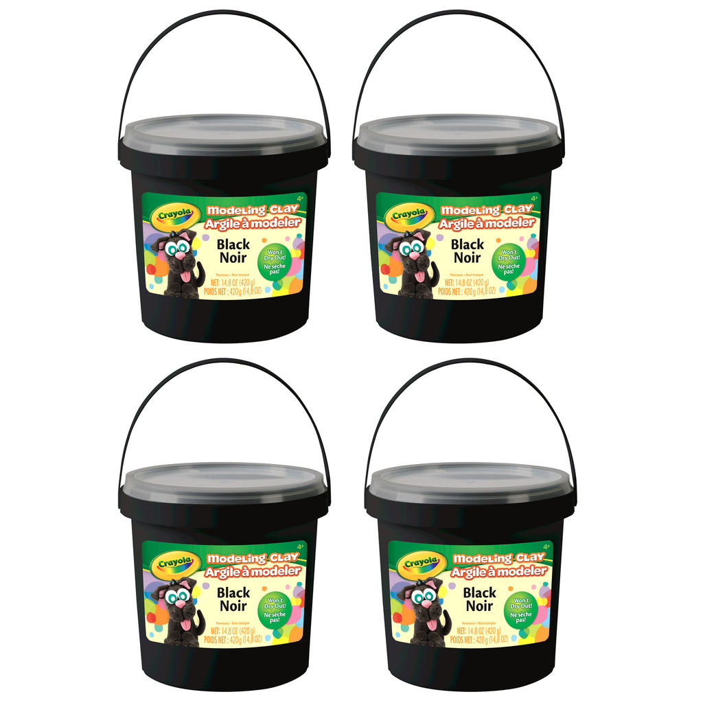 (4 Ea) 1 Lb Bucket Modeling Clay Black