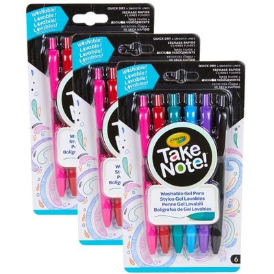 (3 Pk) 6 Ct Take Note Washable Gel Pens
