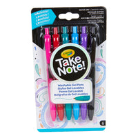 6 Ct Take Note Washable Gel Pens