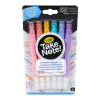 6ct Take Note Erasable Highlighters Pastel Party