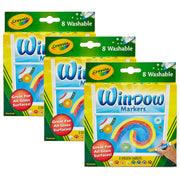 (3 Bx) Crayola 8ct Per Bx Washable Window Markers
