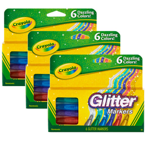 (3 Pk) Crayola Glitter Markers 6 Colors