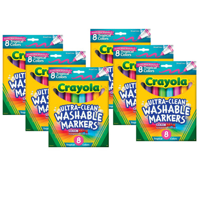 (6 Bx) Washable Markers 8ct Per Bx Tropical Colors Conical Tip