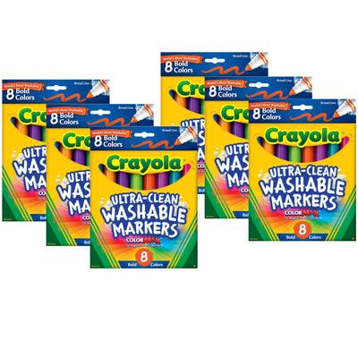 (6 Bx) Washable Markers 8ct Per Bx Bold Colors Conical Tip