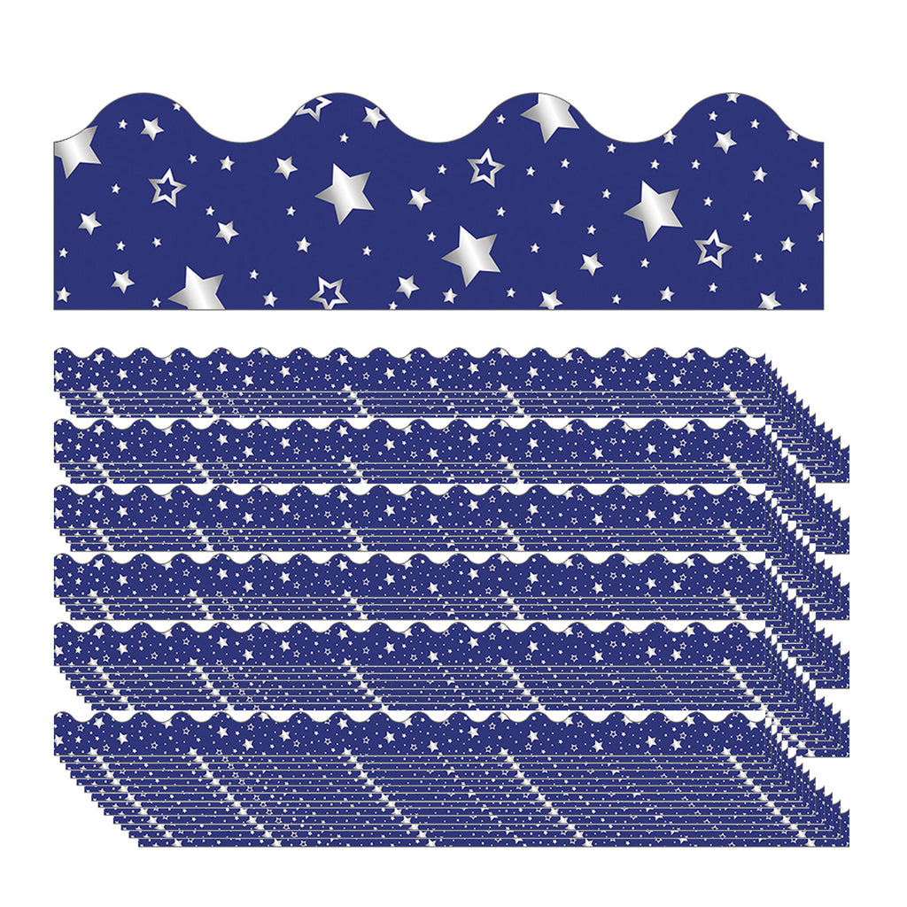 (6 Pk) Navy W- Foil Star Scalloped Borders Sparkle And Shine