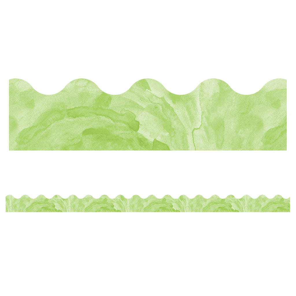 (6 Pk) Watercolor Green Scalloped Borders Celebrate Learning