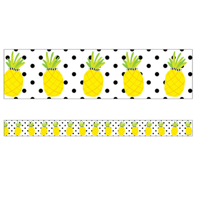 Tropical Pineappls Straight Borders Simply Stylish