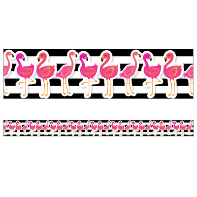 Tropical Flamingos Straight Borders Simply Stylish
