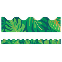 Tropical Leaves Scalloped Borders One World