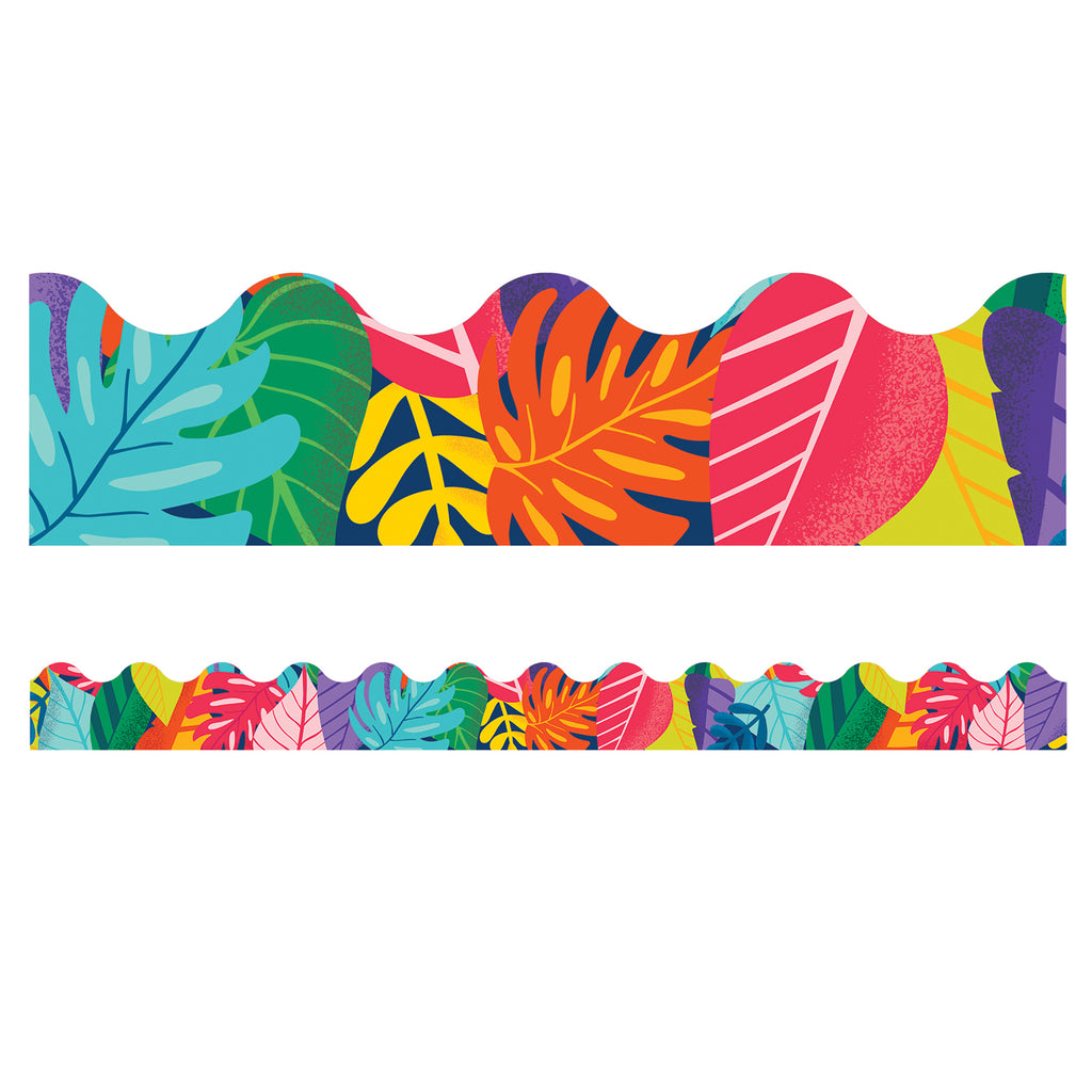 (6 Pk) Colorful Leaves Scalloped Borders One World