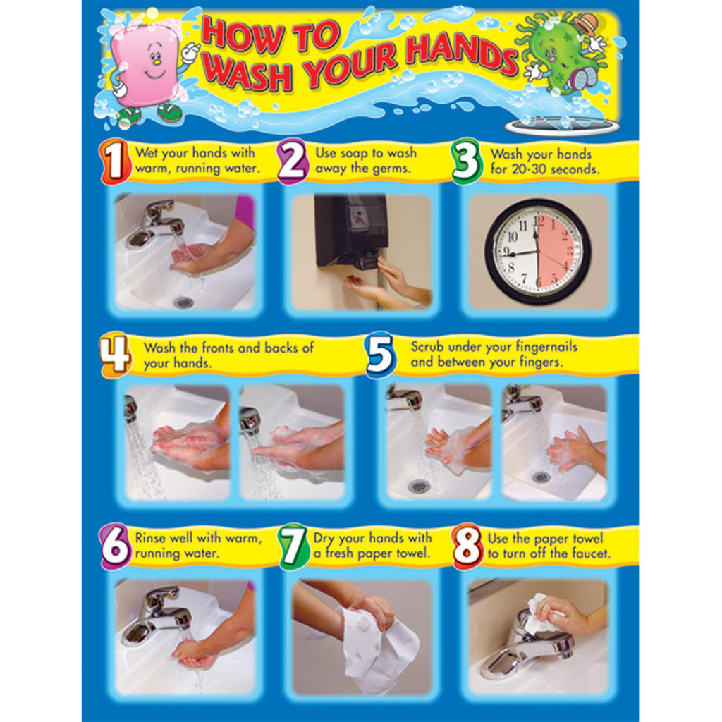 (6 Ea) How To Wash Your Hands Chart - Student Spotlight