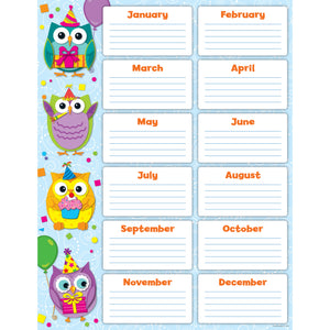 COLORFUL OWLS BIRTHDAY CHART