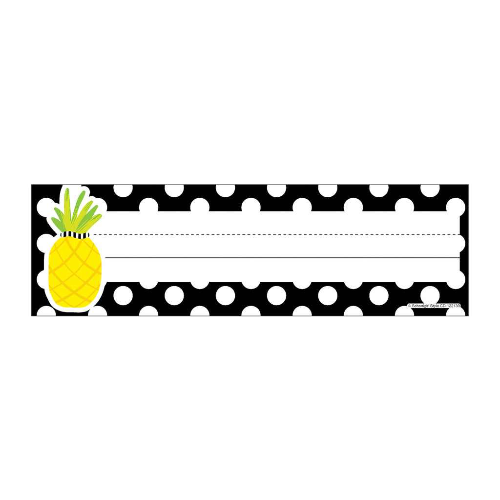 Tropical Pineapple Polka Nameplates Simply Stylish